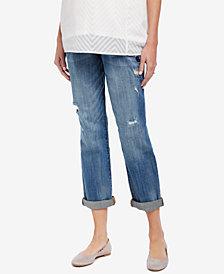 Motherhood Maternity Distressed Medium Wash Boyfriend Jeans