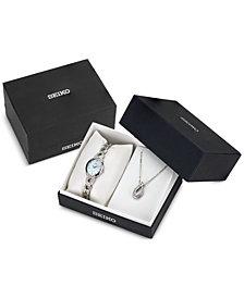 Seiko Women's Ladies Crystal Jewelry Solar Stainless Steel Bracelet Watch & Necklace Box Set 21mm SUP367