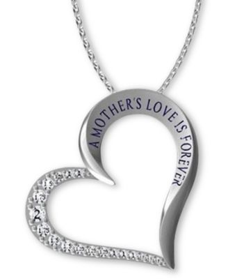 "Image of Giani Bernini Cubic Zirconia ""Mother's Love"" Heart Pendant Necklace in Sterling Silver, Only at Macy"
