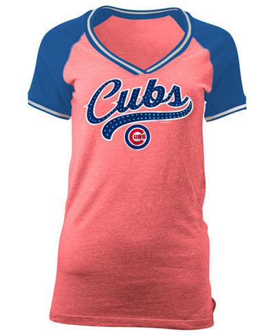 5th & Ocean Women's Chicago Cubs Rhinestone Night T-Shirt