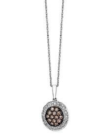 Diamond Chocolate and White Diamond Oval Pendant (3/8 ct. t.w.) in 14k White Gold