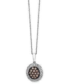 Le Vian Diamond Chocolate and White Diamond Oval Pendant (3/8 ct. t.w.) in 14k White Gold
