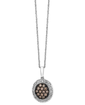 Le Vian Diamond Necklace, 14k White Gold Brown and White Diamond Oval Pendant (3/8 ct. t.w.)