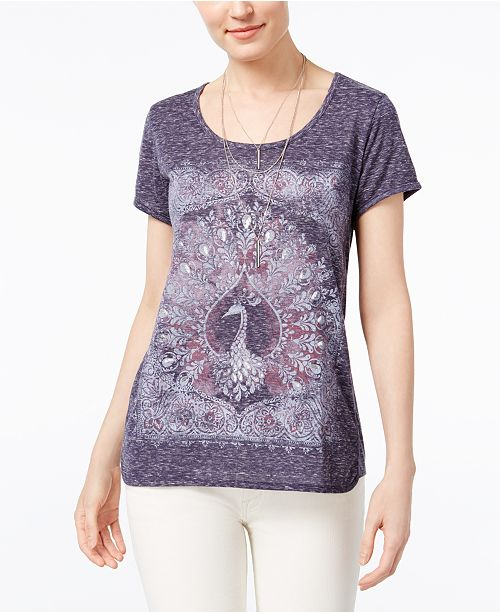 Style & Co Foiled Graphic T-Shirt, Created for Macy's