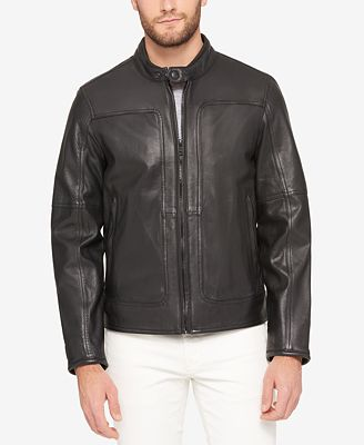 Marc New York Men's Snap-Collar Perforated Leather Moto Jacket ...