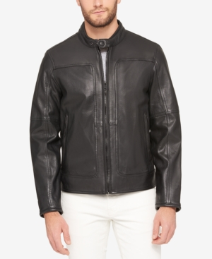 Marc New York  MEN'S SNAP-COLLAR PERFORATED LEATHER MOTO JACKET