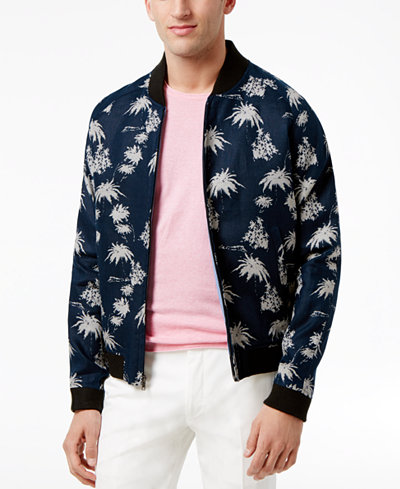 Tallia Men's Slim-Fit Navy and White Tropical Print Bomber Jacket ...