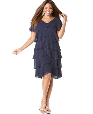 Patra Plus Size Dress, Beaded Tiered Evening Dress - Dresses ...