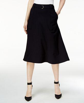 Calvin Klein Belted A-Line Skirt - Skirts - Women - Macy's