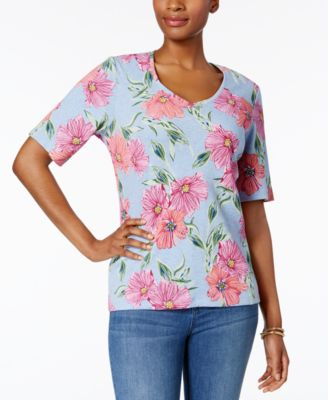 Image of Karen Scott Printed V-Neck T-Shirt, Only at Macy's