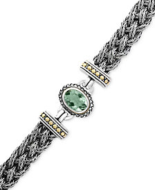 EFFY® Green Amethyst Two-Tone Woven Bracelet (5-3/8 ct. t.w.) in Sterling Silver and 18k Gold
