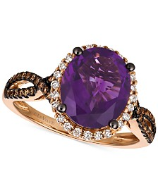 Le Vian Chocolatier® Grape Amethyst™ (2-3/4 ct. t.w.) and Diamond (3/8 ct. t.w.) Ring in 14k Rose Gold