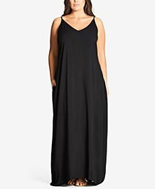 Trendy Plus Size V-Neck Maxi Dress