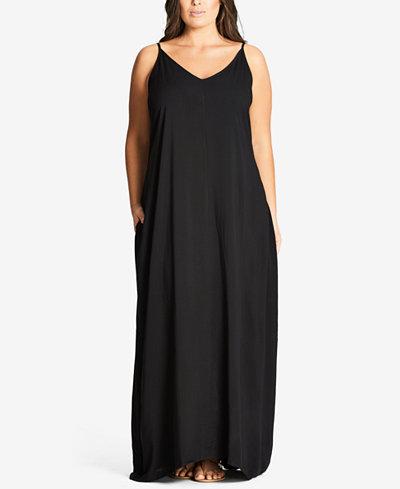City Chic Trendy Plus Size V-Neck Maxi Dress - Dresses - Plus ...