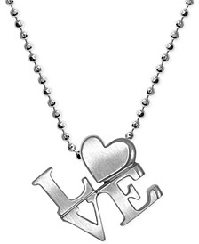 """Love"" Heart Pendant Necklace in Sterling Silver"