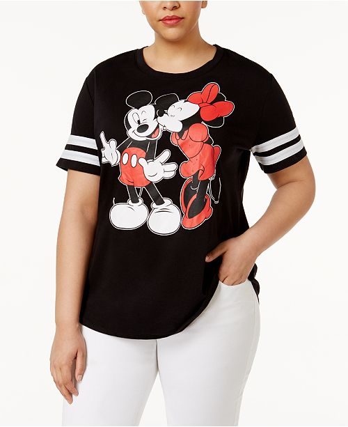 1cc34e450e52d ... Love Tribe Trendy Plus Size Mickey and Minnie Mouse Graphic T-Shirt ...