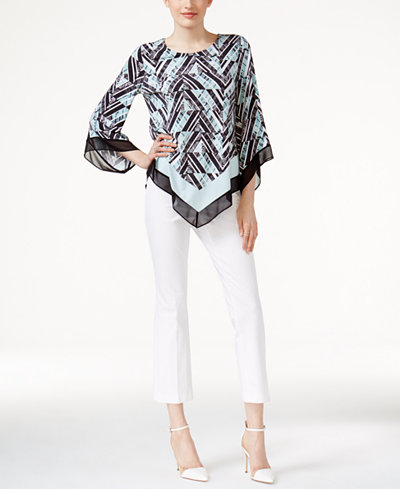 Alfani Pointed-Hem Top & Cropped Pants, Created for Macy's