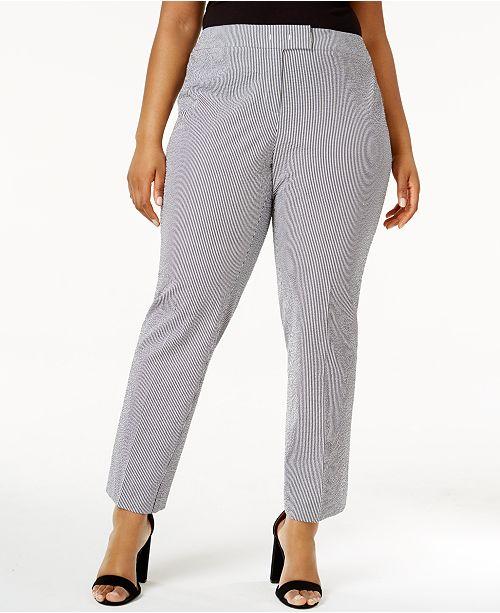 adfb1ca84dee Anne Klein Plus Size Striped Seersucker Pants   Reviews - Pants ...