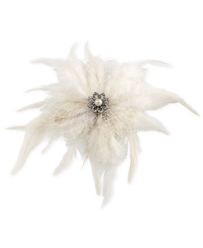Carolee Silver-Tone Pavé & Imitation Pearl Feather Hair Clip