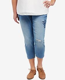 Plus Size Cropped Skinny Jeans, Medium Wash