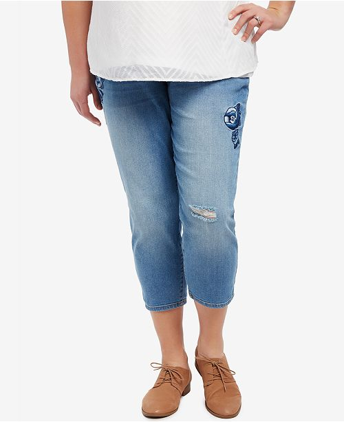 Motherhood Maternity Plus Size Cropped Skinny Jeans, Medium Wash