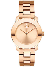 Movado Women's Swiss BOLD Rose Gold-Tone Stainless Steel Bracelet Watch 30mm 3600435
