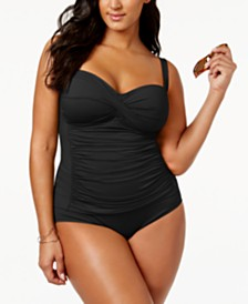 La Blanca Plus Size Twist-Front Ruched Tankini Top &  High-Waist Brief Bottoms