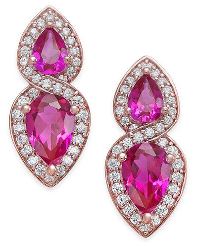 Certified Ruby (1-1/4 ct. t.w.) and Diamond (1/4 ct. t.w.) Drop Earrings in 14k Rose Gold
