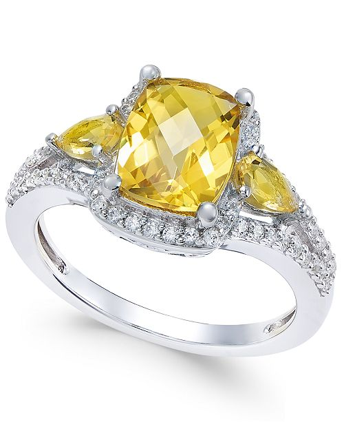 Macy's Citrine (2-1/4 ct. t.w.) and White Topaz (1/4 ct. t.w.) Ring in Sterling Silver