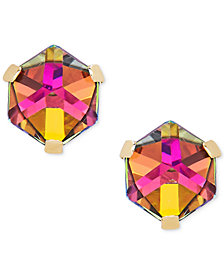 Zirconia Vitrail Crystal Stud Earrings in 14k Gold