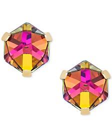 Zirconia Vitrail Crystal Stud Earrings in 14k Gold