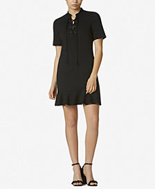 Avec Les Filles Lace-Up Ruffled Ponté Knit Dress