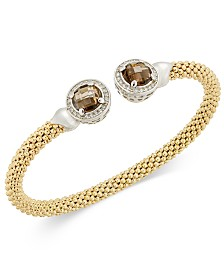 Smoky Quartz (4-3/4 ct. t.w.) & Diamond (1/3 ct. t.w.) Mesh Cuff Bracelet in 14k Gold-Plated Sterling Silver