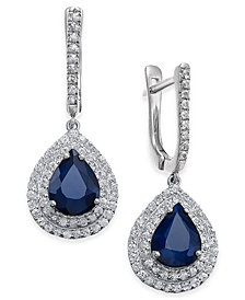 Sapphire (5 ct. t.w.) & White Sapphire (1 ct. t.w.) Drop Earrings in 14k White Gold, Created for Macy's