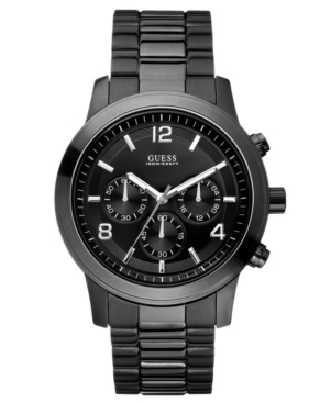 Guess Men's Chronograph Bold Contemporary Black Ion Plated Stainless Steel Bracelet Watch 38mm U15061G1