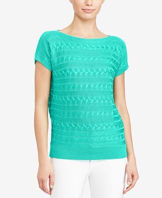 Lauren Ralph Lauren Cable Short-Sleeve Sweater