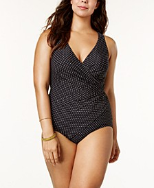 Plus Size Oceanus Allover-Slimming Tummy-Control Dot-Print One-Piece Swimsuit