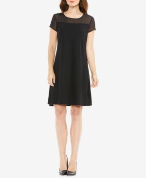 VINCE CAMUTO Sheer Panel Shift Dress in Rich Black