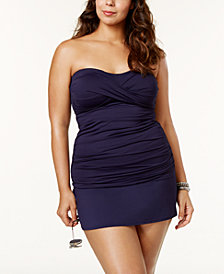 Anne Cole Plus Size Twist-Front Tankini & Swim Skirt