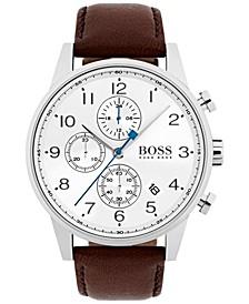 Hugo Boss Men's Chronograph Navigator Dark Brown Leather Strap Watch 44mm 1513495