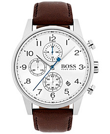 BOSS Hugo Boss Men's Chronograph Navigator Dark Brown Leather Strap Watch 44mm 1513495