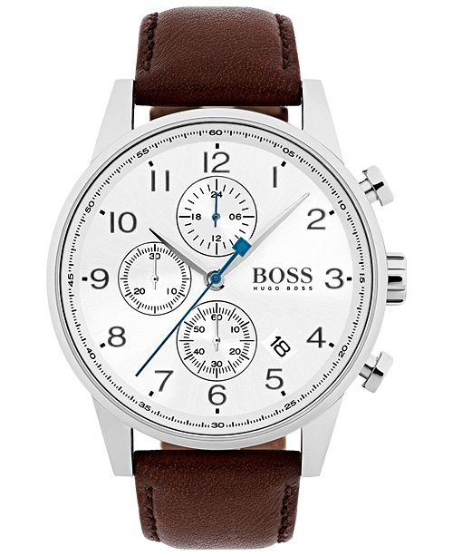 Hugo Boss Men S Chronograph Navigator Dark Brown Leather Strap Watch 44mm 1513495
