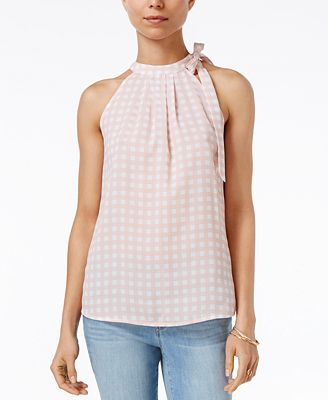 Maison Jules Gingham-Print Tie-Neck Top, Created for Macy's