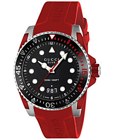 Gucci Men's Swiss Dive Red Rubber Strap Watch 40mm YA136309