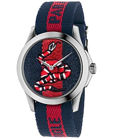 Gucci Unisex Swiss Le Marché Des Merveilles Blue and Red Nylon Strap Watch 38mm YA126493
