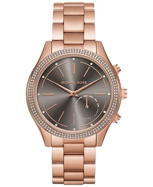 89b748af8ff1 Michael Kors Access Women s Slim Runway Rose Gold-Tone Bracelet Hybrid  Smart Watch 42mm MKT4005 ...