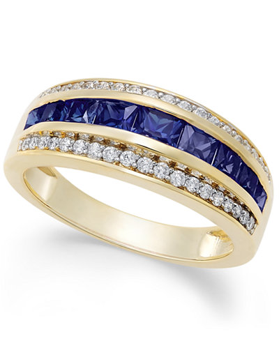 Sapphire (1-1/10 ct. t.w.) & Diamond (1/6 ct. t.w.) Ring in 14k Gold (Also Emerald & Ruby)