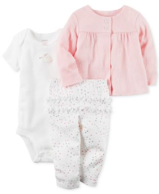 Image of Carter's 3-Pc. Cardigan, Bunny Bodysuit & Ruffled Pants Set, Baby Girls (0-24 months)