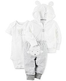 Carter's 3-Pc. Hoodie, Happy Bodysuit & Lamb Pants Set, Baby Boys & Girls