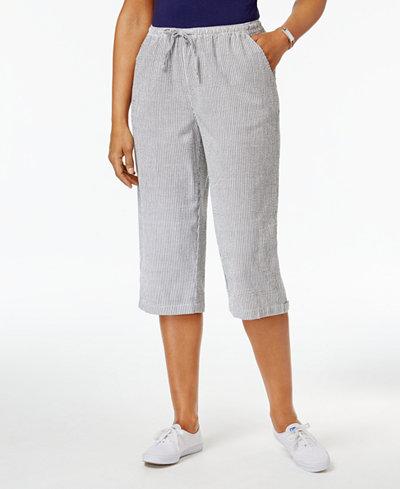 Karen Scott Cotton Seersucker Capri Pants, Only at Macy's - Pants ...